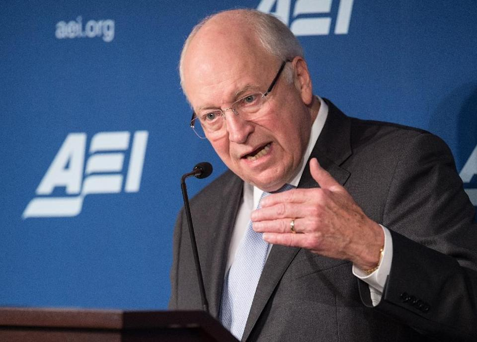 Former US Vice President Dick Cheney speaks against the Iranian nuclear deal at the American Enterprise Institute in Washington, DC, on September 8, 2015 (AFP Photo/Nicholas Kamm)