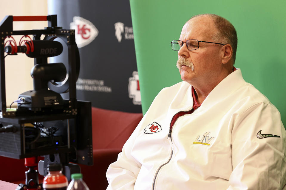Kansas City Chiefs coach Andy Reid speaks to the media in advance of Super Bowl LV. (Steve Sanders/Kansas City Chiefs via AP)