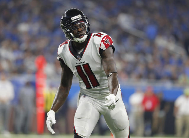 Julio Jones is reporting to Atlanta Falcons training camp on Thursday, which is good news for one television anchor's son. (AP)