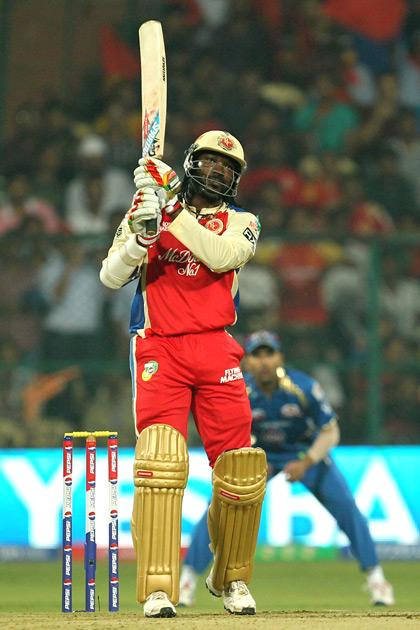 C. Gayle hits a six during match 2 of of the Pepsi Indian Premier League between The Royal Challengers Bangalore and The Mumbai Indians held at the M. Chinnaswamy Stadium, Bengaluru on the 4th April 2013Photo by Prashant BhootSPORTZPICS Use of this image is subject to the terms and conditions as outlined by the BCCI. These terms can be found by following this link:https://ec.yimg.com/ec?url=http%3a%2f%2fwww.sportzpics.co.za%2fimage%2fI0000SoRagM2cIEc&t=1506418513&sig=140GKHL8IioeDzf_WcTQpg--~D