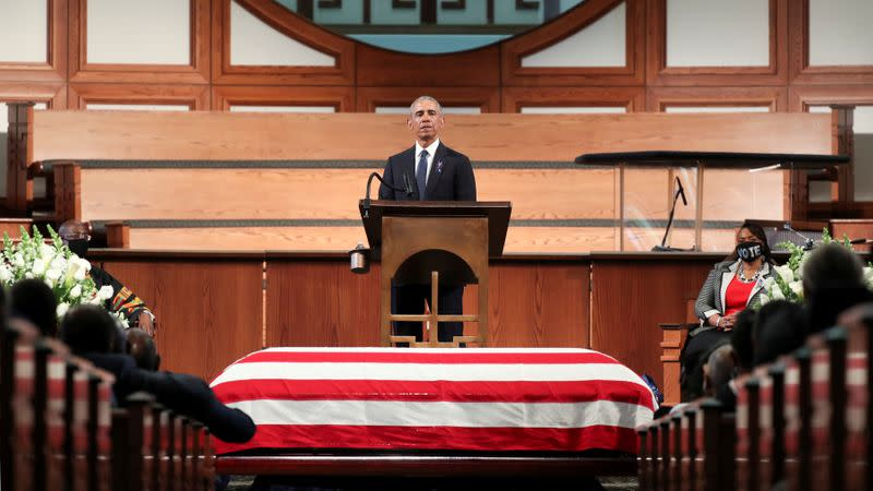 Obama takes aim at Trump in fiery eulogy for Civil Rights icon John Lewis