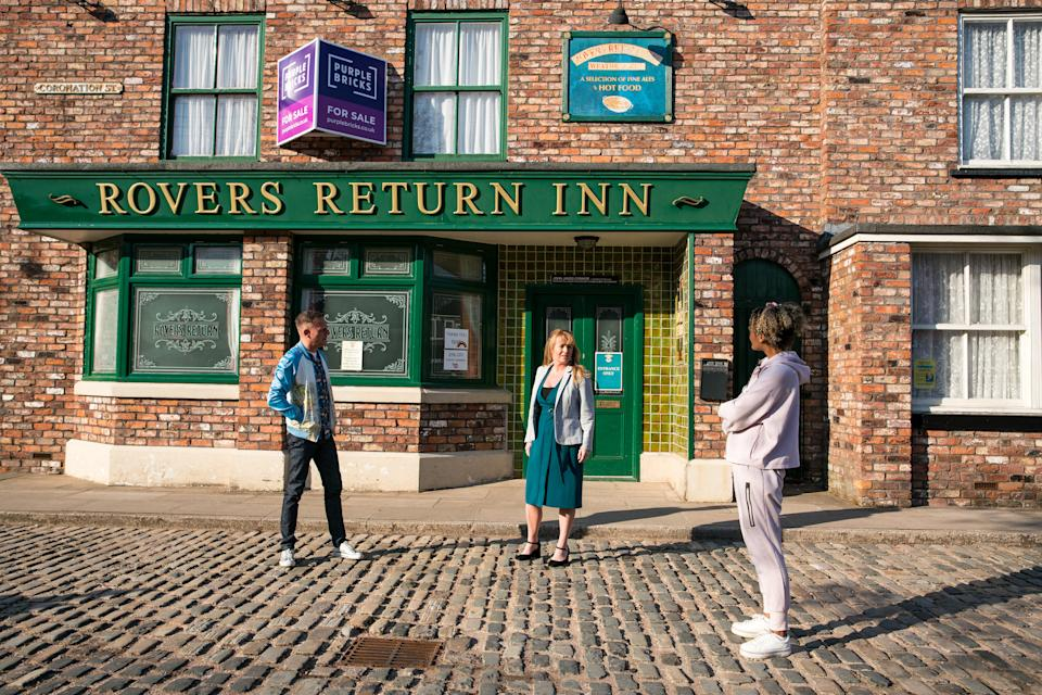 FROM ITV  STRICT EMBARGO  -  No Use Before Tuesday 1st June 2021   Coronation Street - Ep 10346  Wednesday 9th June 2021 - 1st Ep  At a staff meeting the news is broken by Jenny Connor [SALLY ANN MATTHEWS] to Sean Tully [ANTONY COTTON] and Emma Brooker [ALEXANDRA MARDELL] that Johnny is selling the pub.  Picture contact David.crook@itv.com   This photograph is (C) ITV Plc and can only be reproduced for editorial purposes directly in connection with the programme or event mentioned above, or ITV plc. Once made available by ITV plc Picture Desk, this photograph can be reproduced once only up until the transmission [TX] date and no reproduction fee will be charged. Any subsequent usage may incur a fee. This photograph must not be manipulated [excluding basic cropping] in a manner which alters the visual appearance of the person photographed deemed detrimental or inappropriate by ITV plc Picture Desk. This photograph must not be syndicated to any other company, publication or website, or permanently archived, without the express written permission of ITV Picture Desk. Full Terms and conditions are available on  www.itv.com/presscentre/itvpictures/terms