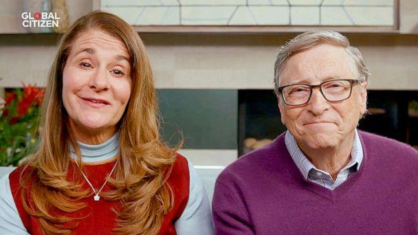 PHOTO: In this April 18, 2020, screen grab, Melinda Gates and Bill Gates speak during 'One World: Together At Home' presented by Global Citizen. (Getty Images for Global Citizen, FILE)