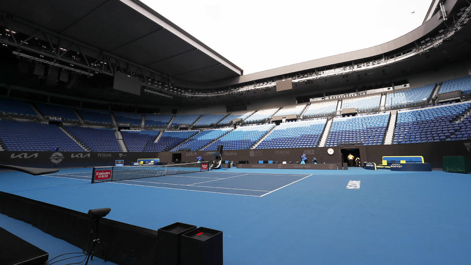 An empty Rod Laver Arena, pictured here at Melbourne Park on Thursday.