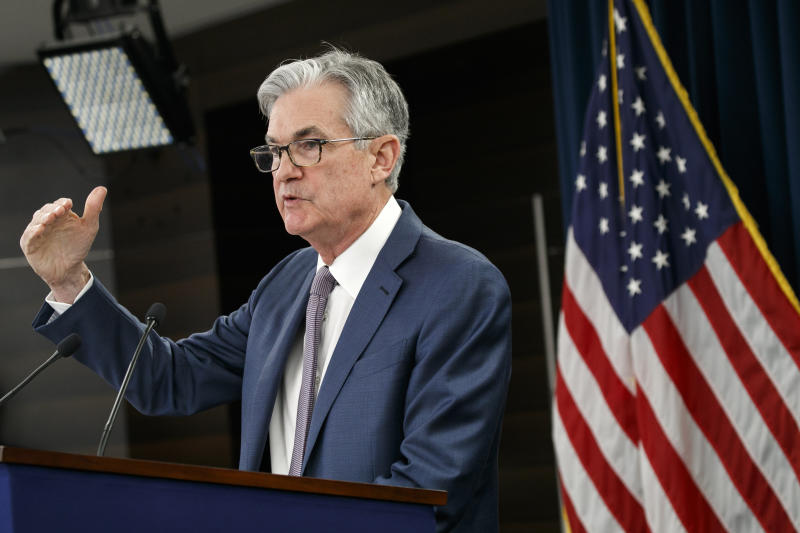 "Federal Reserve Chair Jerome Powell speaks during a news conference, Tuesday, March 3, 2020, to discuss an announcement from the Federal Open Market Committee, in Washington. In a surprise move, the Federal Reserve cut its benchmark interest rate by a sizable half-percentage point in an effort to support the economy in the face of the spreading coronavirus. Chairman Jerome Powell noted that the coronavirus ""poses evolving risks to economic activity."" (AP Photo/Jacquelyn Martin)"