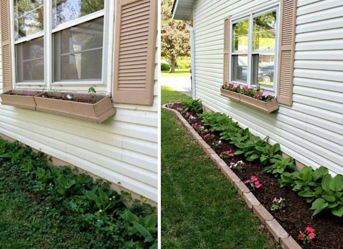 """<body><p>Even though your side yard doesn't sit in front of your house, most are visible enough from the street to make an impression on passersby. Creating a small, modestly planted landscaping bed makes this often overlooked space appear tidy and well maintained, and adds charm to your yard. The cheerful transformation shown here was accomplished with some inexpensive <a href="""" http://www.bobvila.com/wine-bottle-edging/44302-on-the-edge-16-garden-borders-you-can-make/slideshows#.VQmkAWTF8bo?bv=yahoo"""" rel=""""nofollow noopener"""" target=""""_blank"""" data-ylk=""""slk:edging"""" class=""""link rapid-noclick-resp"""">edging</a>, weed barrier, mulch, and plants. Anyone can do this. (Yes, you too!)</p></body>"""