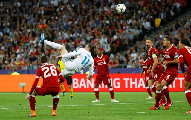 Soccer Football - Champions League Final - Real Madrid v Liverpool - NSC Olympic Stadium, Kiev, Ukraine - May 26, 2018 Real Madrid's Gareth Bale scores their second goal with a overhead kick REUTERS/Kai Pfaffenbach TPX IMAGES OF THE DAY
