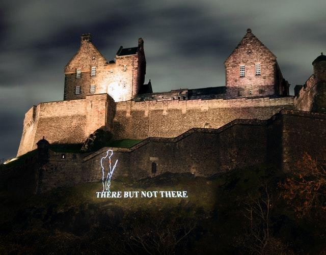 A First World War Tommy projected on to Edinburgh Castle