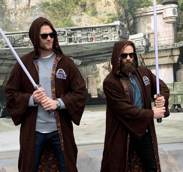 "Super Bowl LIII MVP Julian Edelman, right, and teammate Tom Brady pose in the ""Star Wars: Galaxy's Edge"" area at Walt Disney World on Monday. (Julian Edelman/Instagram)"