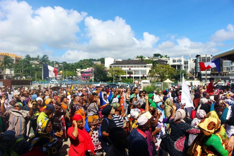 A protest on Tuesday in Mamoutzou, the biggest city on the French Indian Ocean island of Mayotte