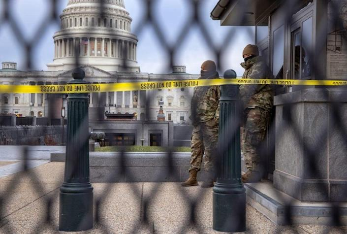 DC National Guard troops stand watch at the U.S. Capitol on January 08, 2021 in Washington, DC.(Photo by John Moore/Getty Images)