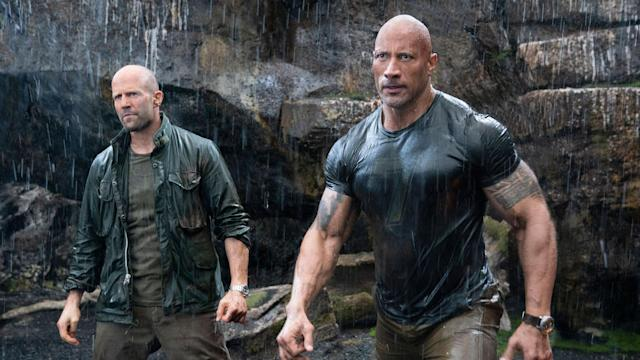Jason Statham and Dwayne Johnson in 'Hobbs & Shaw'. (Credit: Universal)