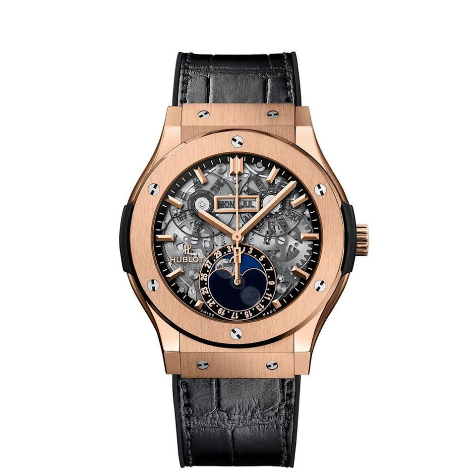 "<p><a class=""link rapid-noclick-resp"" href=""https://www.hublot.com/en-us/watches/classic-fusion/classic-fusion-aerofusion-moonphase-king-gold-45-mm"" rel=""nofollow noopener"" target=""_blank"" data-ylk=""slk:BUY IT HERE"">BUY IT HERE</a></p><p>Hublot watches are some of the most high-tech looking pieces on the market. Their signature open-face design allows you to see all of the gears and mechanisms that power the piece, giving it a futuristic look that's usually grounded by a rubber strap. This clever contrast has catapulted Hublot to be some of the most sought-after pieces that you have likely seen on some of your favorite athletes. </p>"