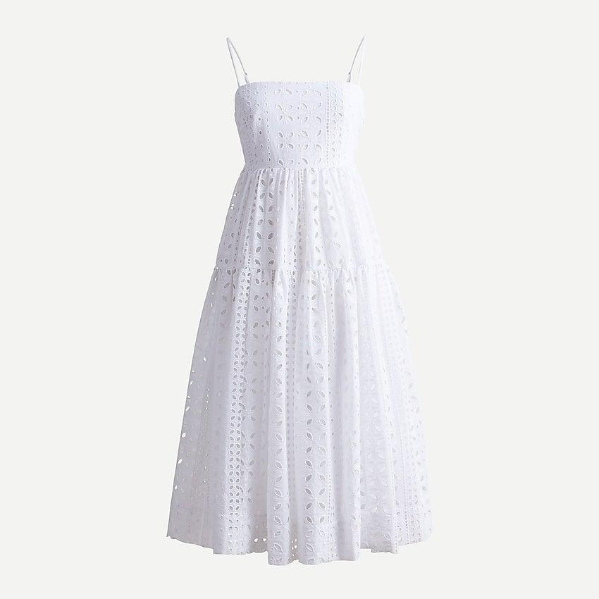 """<br><br><strong>J.Crew</strong> Tie-back tiered dress in eyelet, $, available at <a href=""""https://go.skimresources.com/?id=30283X879131&url=https%3A%2F%2Fwww.jcrew.com%2Fp%2Fwomens%2Fcategories%2Fclothing%2Fdresses-and-jumpsuits%2Ftie-back-tiered-dress-in-eyelet%2FAY627"""" rel=""""nofollow noopener"""" target=""""_blank"""" data-ylk=""""slk:J. Crew"""" class=""""link rapid-noclick-resp"""">J. Crew</a>"""