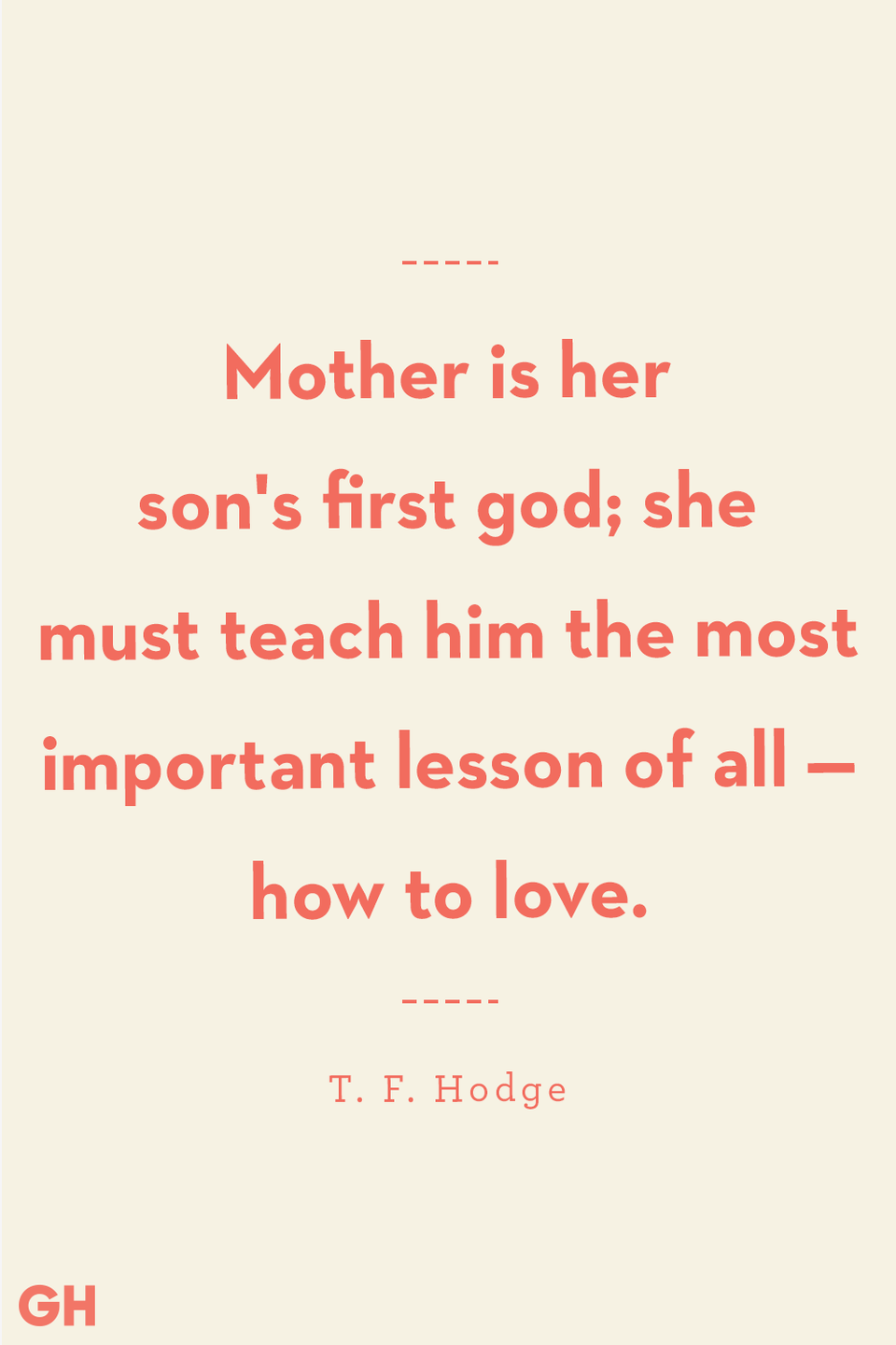<p>Mother is her son's first god; she must teach him the most important lesson of all — how to love.</p>