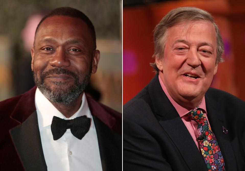 """EMBARGOED TO 2200 WEDNESDAY NOVEMBER 20 Undated composite file photos of (left to right) Sir Lenny Henry and Stephen Fry, who will star in """"major roles"""" in the first episode of the new series of Doctor Who."""