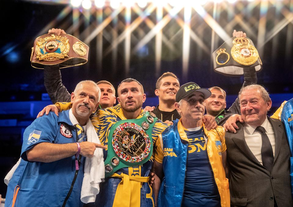LONDON, ENGLAND - AUGUST 31: Vasily Lomachenko celebrates victory during the WBA, WBO, WBC Lightweight World Title contest between Vasily Lomachenko and Luke Campbell at The O2 Arena on August 31, 2019 in London, England. (Photo by Richard Heathcote/Getty Images)