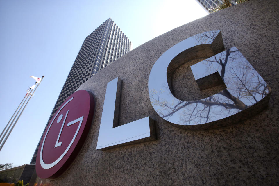 FILE - This April 5, 2021 file photo shows the logo of LG Electronics Inc. outside of the company's office building in Seoul, South Korea. LG Electronics has reached a deal with General Motors to pay as much as $2 billion to reimburse the automaker for the cost of recalling Chevrolet Bolt electric vehicles due to battery fires. The automaker announced the deal in a statement early Tuesday, Oct. 12. (AP Photo/Ahn Young-joon, File)
