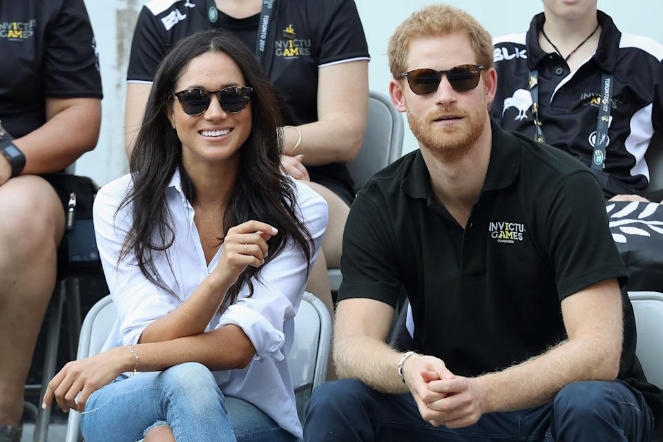 TORONTO, ON - SEPTEMBER 25:  Prince Harry and Meghan Markle attend a Wheelchair Tennis match during the Invictus Games 2017 at Nathan Philips Square on September 25, 2017 in Toronto, Canada  (Photo by Chris Jackson/Getty Images for the Invictus Games Foundation )
