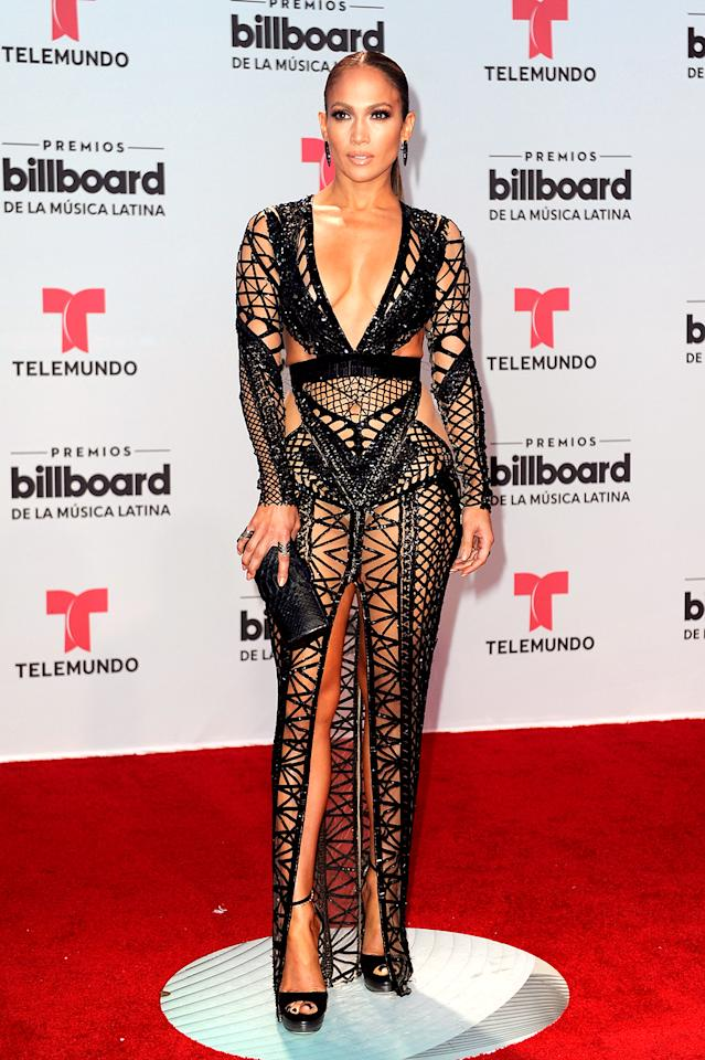 <p>J.Lo sizzled at the Billboard Latin Music Awards in a daring Julien Macdonald number that left very little to the imagination. Wonder if A-Rod helped her pick it out… (Photo: Sergi Alexander/Getty Images) </p>