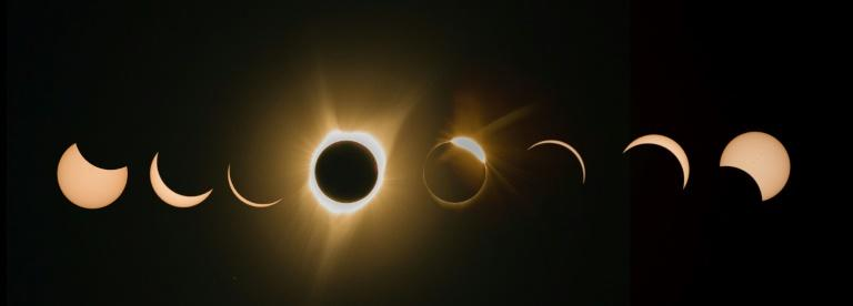 Phases of Monday's total solar eclipse as seen in Madras, Oregon, among the first places to experience the celestial phenomenon