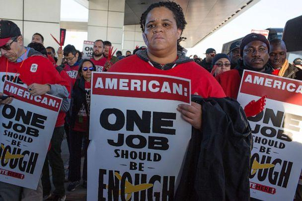 PHOTO: The labor union UNITE HERE holds a rally for American Airlines food caterers to demand health care for the workers at Terminal 8 at JFK Airport in New York, Nov. 26, 2019. (Corbis via Getty Images, FILE)