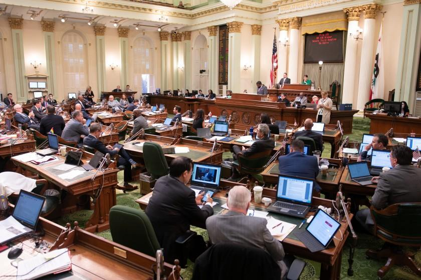The California Assembly casts votes on Thursday, Sept. 12, 2019 at the state Capitol in Sacramento.