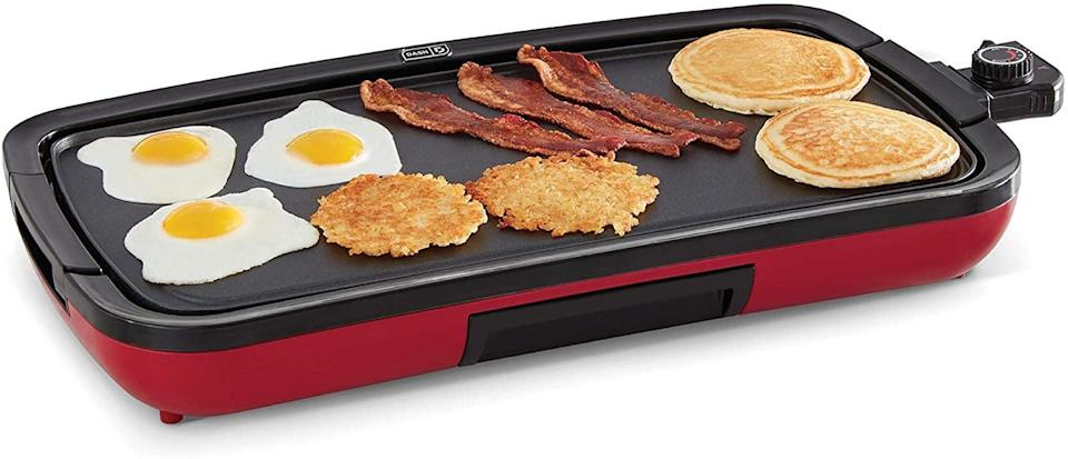 <p>The <span>Dash Everyday Nonstick Deluxe Electric Griddle</span> ($60) comes with a removable cooking plate. You can use this indoors or outdoors. It's perfect for making pancakes, burgers, quesadillas, eggs and so much more.</p>