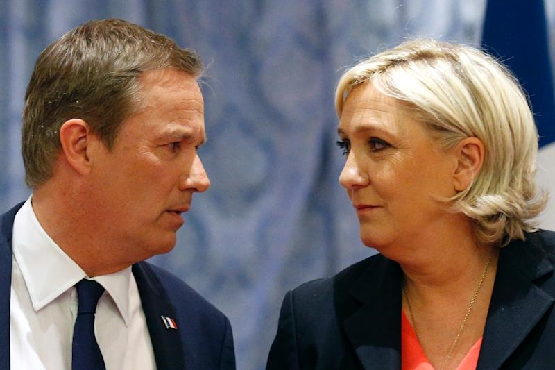 Le Pen has picked a fellow eurosceptic, Nicolas Dupont-Aignan, as her PM if she were to become president (AFP Photo/GEOFFROY VAN DER HASSELT)