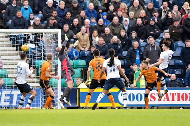 "Soccer Football - Championship - Preston North End vs Wolverhampton Wanderers - Deepdale, Preston, Britain - February 17, 2018 PrestonÕs Alan Browne scores their first goal Action Images/Paul Burrows EDITORIAL USE ONLY. No use with unauthorized audio, video, data, fixture lists, club/league logos or ""live"" services. Online in-match use limited to 75 images, no video emulation. No use in betting, games or single club/league/player publications. Please contact your account representative for further details."