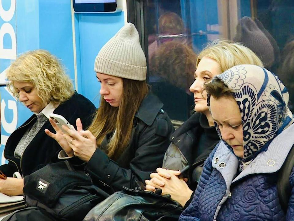 Wearing masks on Moscow's subway system is mandatory, but there appears to be little enforcement of the measure to try to curb the spread of COVID-19.  (Dmitry Kozlov/CBC  - image credit)