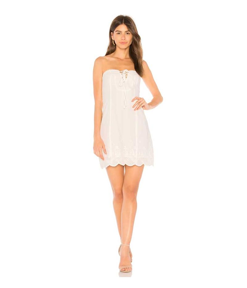 Strapless white lace up dress. (Photo: Somedays Lovin/Revolve)