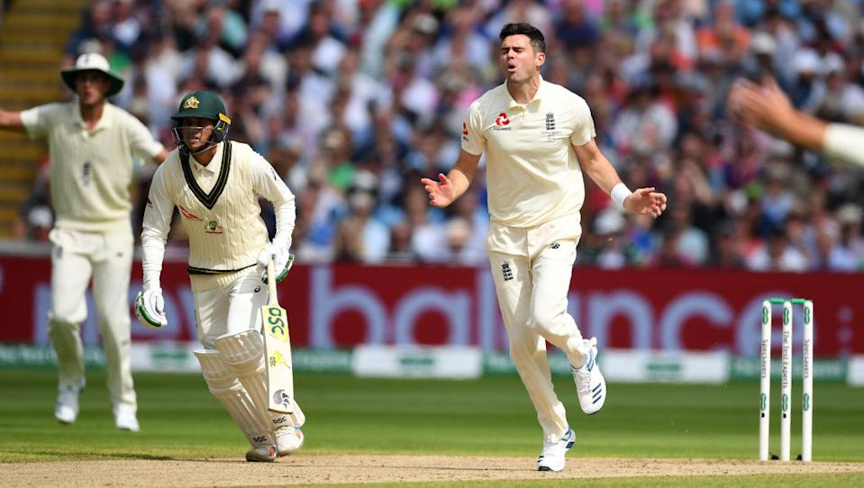 James Anderson of England reacts after bowling during day one of the 1st Specsavers Ashes Test between England and Australia at Edgbaston on August 01, 2019 in Birmingham, England. (Photo by Gareth Copley/Getty Images)