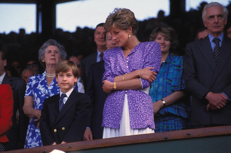 Princess Diana and Prince William watching the women's final at Wimbledon on July 6th, 1991. Photo courtesy of Getty Images.