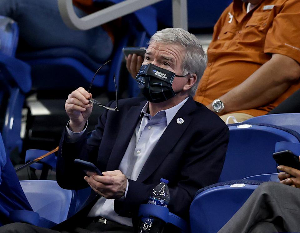 NCAA president Mark Emmert attends the game between Texas and South Carolina during the Elite Eight of the NCAA women's basketball tournament on March 30. (Elsa/Getty Images)
