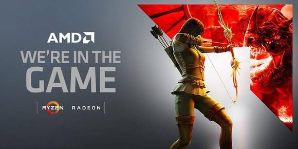 Woman shooting an arrow at a dragon in an AMD ad.