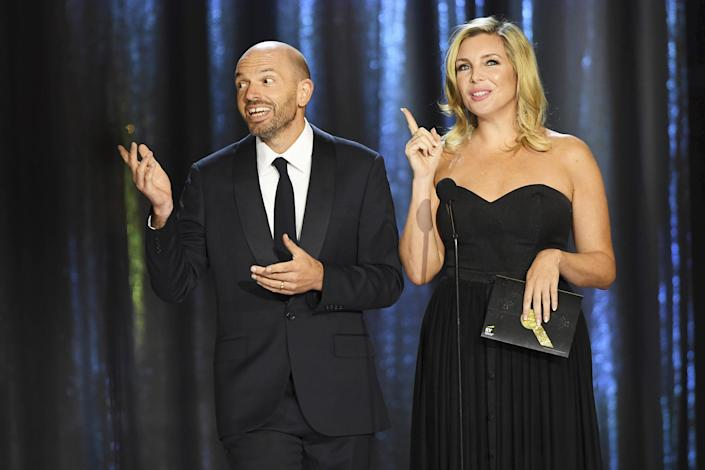 <p>Paul Scheer and June Diane Raphael hit the stage during night one of the Television Academy's 2021 Creative Arts Emmy Awards at L.A. LIVE on Sept. 11.</p>
