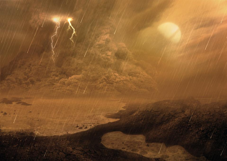 Dust storm of the surface of Titan, illustration. Titan, the largest moon of Saturn, is the only body in the known Solar System, aside from Earth, with liquid on its surface. But it's not water; it's liquid hydrocarbons. It's also the only satellite with a substantial atmosphere, made mostly of nitrogen. Scientists studying data from the Cassini mission by ESA have found dust storms raging around the moon's equator, as depicted in this illustration. Saturn is shown in the sky, although in reality it is unlikely it would be visible owing to the dense cloud coverage.