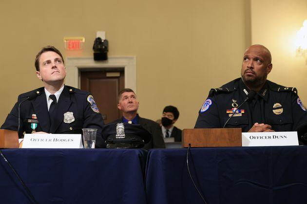 D.C. Metropolitan Police officer Daniel Hodges (left) and U.S. Capitol Police Officer Harry Dunn testify before the House select committee. (Photo: Chip Somodevilla via Getty Images)
