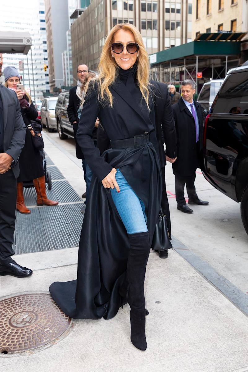 Celine Dion departs her hotel on February 29, 2020 in New York City. (Photo by Gotham/GC Images).