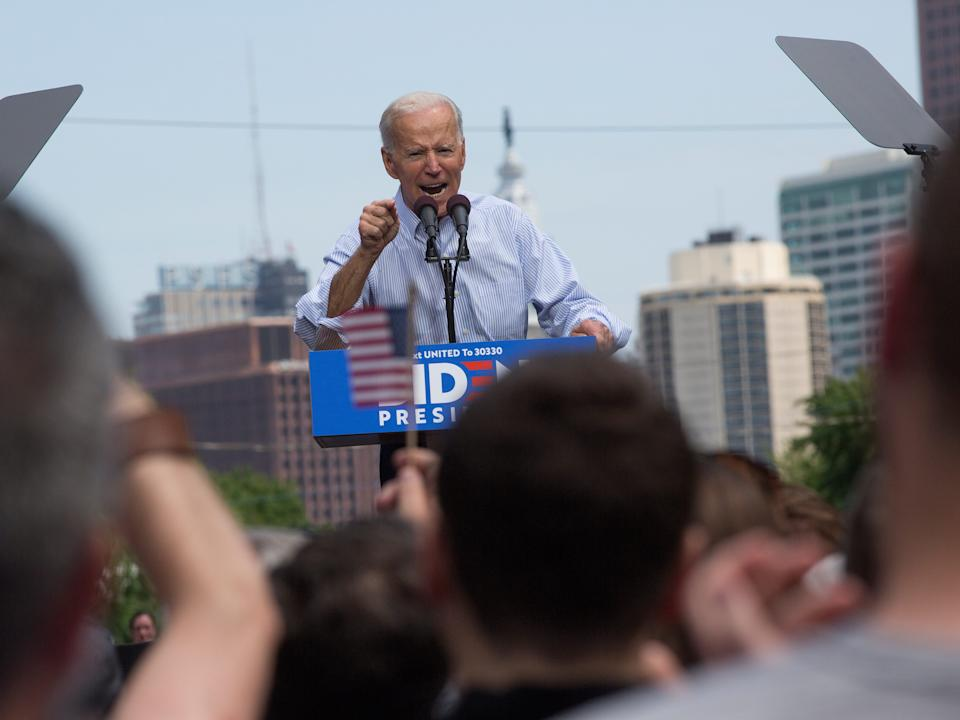 PHILADELPHIA, PA - MAY 18: Former Vice President Joe Biden campaigns for president at a kickoff rally on March 18, 2019 in downtown Philadelphia, Pennsylvania. (Photo by Andrew Lichtenstein/Corbis via Getty Images)