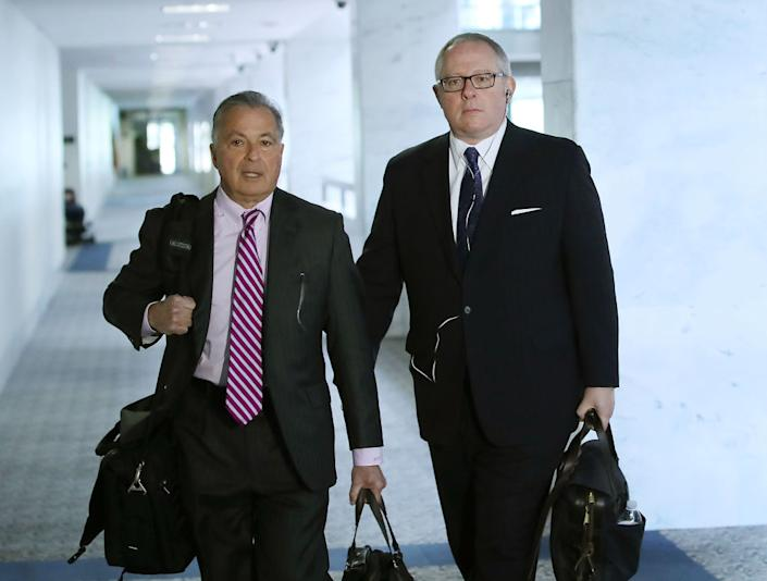 WASHINGTON, DC – MAY 01: Former Trump campaign official Michael Caputo (R) arrives with attorney Dennis C. Vacco at the Hart Senate Office building to be interviewed by Senate Intelligence Committee staffers, on May 1, 2018 in Washington, DC. The committee is investigating alleged Russian interference in the 2016 U.S. presidential election. (Photo by Mark Wilson/Getty Images)