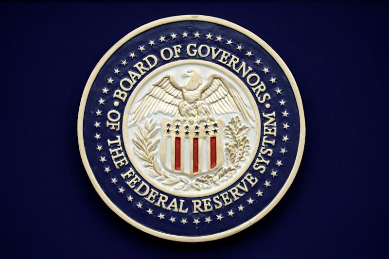 The Federal Reserve seal is seen during Chairman Jerome Powell news conference following the two-day meeting of the Federal Open Market Committee (FOMC) meeting on interest rate policy in Washington, U.S., January 29, 2020. REUTERS/Yuri Gripas