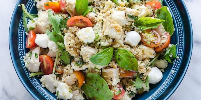 """<p>We can never get enough summer tomatoes! Pair them with basil and mozzarella for a caprese salad, then take it one step further and toss it all together with hearty couscous and chicken for a filling side or main course. </p><p><a href=""""https://www.thepioneerwoman.com/food-cooking/recipes/a98862/chicken-caprese-salad/"""" rel=""""nofollow noopener"""" target=""""_blank"""" data-ylk=""""slk:Get the recipe."""" class=""""link rapid-noclick-resp""""><strong>Get the recipe. </strong></a></p><p><a class=""""link rapid-noclick-resp"""" href=""""https://go.redirectingat.com?id=74968X1596630&url=https%3A%2F%2Fwww.walmart.com%2Fsearch%2F%3Fquery%3Dpioneer%2Bwoman%2Bserving%2Bplates&sref=https%3A%2F%2Fwww.thepioneerwoman.com%2Ffood-cooking%2Fmeals-menus%2Fg36353420%2Ffourth-of-july-side-dishes%2F"""" rel=""""nofollow noopener"""" target=""""_blank"""" data-ylk=""""slk:SHOP SERVING PLATES"""">SHOP SERVING PLATES</a></p>"""