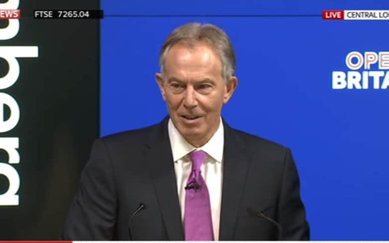 Tony Blair's Open Britain speech - Credit: SKY NEWS