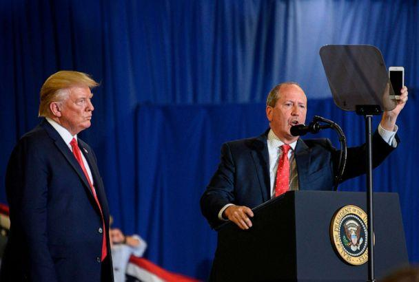 PHOTO: Dan Bishop speaks alongside President Donald Trump during a 'Keep America Great' campaign rally at The Crown Arena in Fayetteville, North Carolina, Sept. 9, 2019. (Jim Watson/AFP/Getty Images)