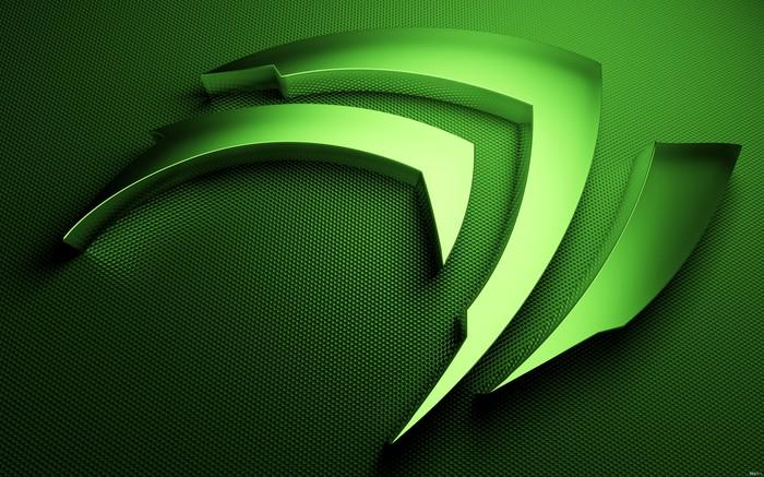 A green Nvidia logo, rendered as a 3-D profile.