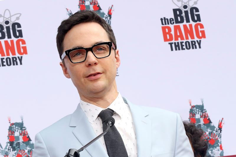 "Jim Parsons, member of the cast of the TV series ""The Big Bang Theory"" speaks at the handprint in cement ceremony at the TCL Chinese Theatre on Wednesday, May 1, 2019 at in Los Angeles. (Photo by Willy Sanjuan/Invision/AP)"