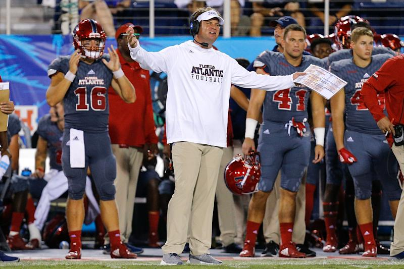 BOCA RATON, FL - OCTOBER 26: Head coach Lane Kiffin of the Florida Atlantic Owls reacts on the sideline after a penalty call against the Louisiana Tech Bulldogs during the second half at FAU Stadium on October 26, 2018 in Boca Raton, Florida. (Photo by Michael Reaves/Getty Images)