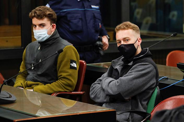 U.S. citizens Finnegan Lee Elder, right, and Gabriel Natale-Hjorth, during their trial in Rome on April 26, 2021. They were convicted in the 2019 stabbing death of Italian Carabinieri police officer Mario Cerciello Rega. / Credit: REMO CASILLI/POOL/AFP via Getty Images